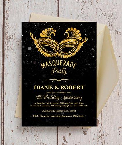 warz & gold Masquerade Ball Hochzeit Einladungen mit Umschlägen (10Stück) (Masquerade-einladungen)