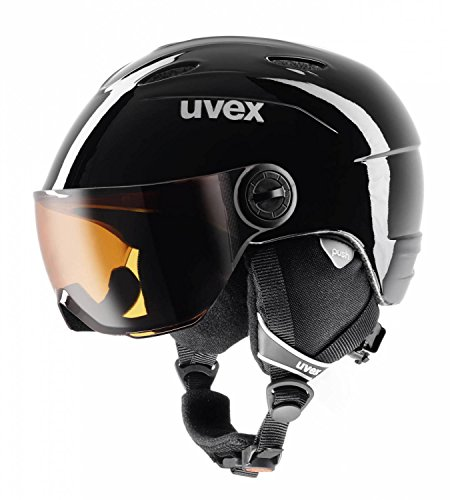 UVEX Kinder Junior Visor Skihelm, Black, 52-54 cm