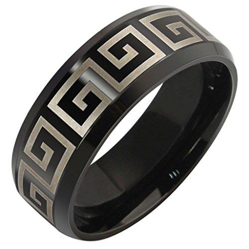 Patterns Acciaio inox Grande Muraglia Stripe Uomo Finito Bande Nere 8MM Dimensione 25 di (14k Diamante Tiffany Anello Setting)
