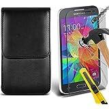 Fone-Case ( Black ) Samsung Galaxy Core Prime étui Cover Case Brand New Luxury Cuir Side Faux PU Vertical Pull Tab Pouch Housse de la peau avec Protecteurs d'écran en verre trempé Crystal Clear LCD