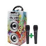 DYNASONIC 025-12 Bluetooth luidspreker voor karaoke kinderinstallatie MP3-speler boxen batterij luidsprekerbox 025 (025-1, 2 microfoons)
