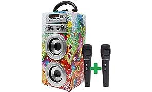 DYNASONIC - Haut-Parleur Bluetooth Portable avec karaoké | Radio FM et Lecteur USB SD (modèle 1, 2 Microphones)