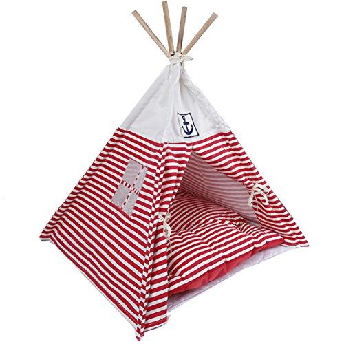 Hubulk - Pet Supplies durevole lavabile banda del blu marino di stile dell'animale domestico della tenda e Mat Bed Pet per piccoli cani e gatti (tenda con Cushionor) (Rosa)
