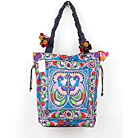 1e4aaccff6 Changnoi Multi Bird Tote Shoulder Bag Pom Pom Straps with Hmong Hill Tribe  Embroidery