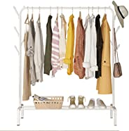 Clothes Rack,Metal Clothes Hanging Heavy Duty Indoor Bedroom Clothes Coat Stand Shoes Rack with Top Rod and Lo