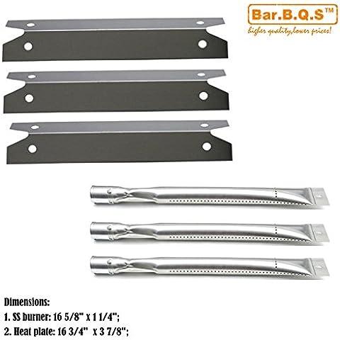 bar. b.q.s Gas Grill acero inoxidable parrilla quemadores y placas de calor de acero inoxidable -3pk Sustitución para Brinkmann 4040, 810–4040, y Charmglow 810–6320-b, 810–6320Gas