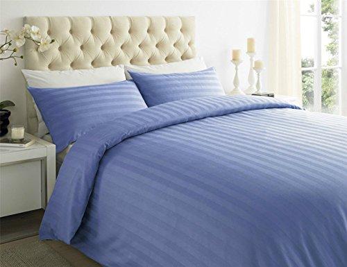 Sapphire Collection 100% Streifen TC400Ägyptische Baumwolle Steppdecke Bezug, Kissen alle Größen, blau, King Size