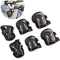Overmont Protectores para Skate patinaje Kit de 6 piezas Set Proteccion Protector de Muneca Guardias para Rodilleras y Coderas para Skate Esqui Escalada Ciclismo y otros Deportes de Invierno S/M/L