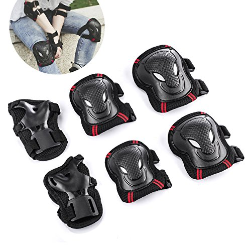 Overmont Skateboard Roller Blading Elbow Knee Wrist Protective Safety Gear Pad Guard 6pcs Set Size S M L 2 Color