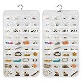 Organiseur de bijoux à suspendre, 80 poches, sac de rangement pour bijoux double face, armoire de rangement pour boucles d'oreilles, colliers, bracelets (blanc) free size blanc