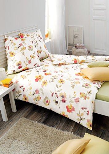 Estella Mako-Satin-Lifestyle Bettwäsche Laith 7867, Größe:155x220 + 80x80 cm;Farbe:700- gold (Bettbezug 700)