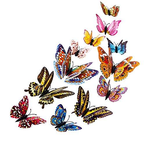 NINGSANJIN Wandaufkleber Wandtattoo Papier Abnehmbare selbstklebend Tapete für Schlafzimmer Wohnzimmer moderne Hintergrund TV-Decor ,12pcs 3D Schmetterlings-Entwurfs-Abziehbild-Kunst-Wand-Aufkleber-Raum-magnetische Hauptdekor