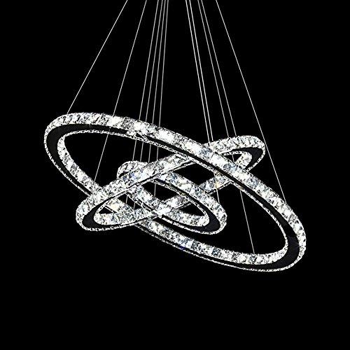 3-ring Mit Einem Brenner (MCTECH® 96W Luxus Modernen Kristall Anhänger Kronleuchter Pendelleuchte Führte Deckenleuchte mit Drei Ring (96W Warmweiß))