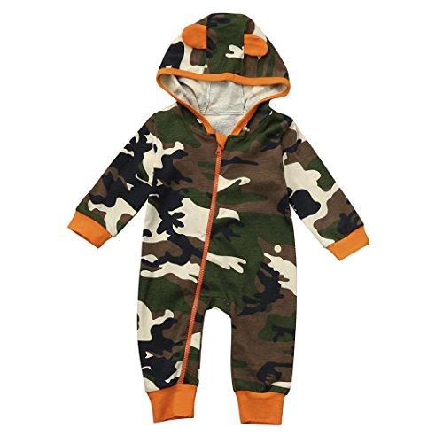 Camouflage-print-hut (Longra Neugeborene Baby Jungen Mädchen Kleidung Camouflage mit Kapuze Strampler Overall Babykleidung Outfits (70CM 6Monate, Camouflage))