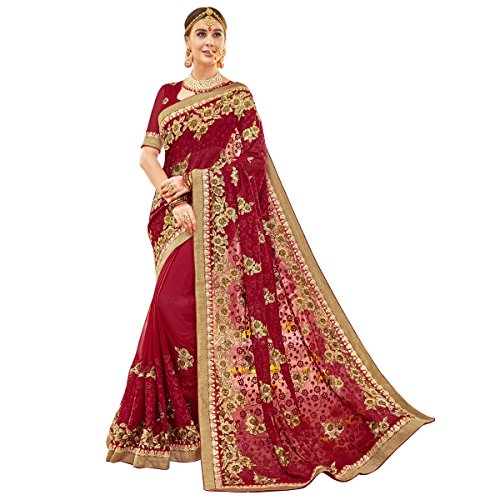 Triveni Womens Faux Georgette Embroidered Bridal Red Colour saree with Blouse -TSNBR5407