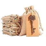 QILICZ - 30 Sacos de Yute + abridor de Botellas de Estilo Vintage con Bolsa de felicitación y Cuerda de cáñamo para Regalos de Boda, Manualidades, Bolsa de Yute, Bolsa de Tela