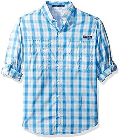 Columbia Men's Super Tamiami Long Sleeve Shirt, Harbor Blue Plaid, X-Small