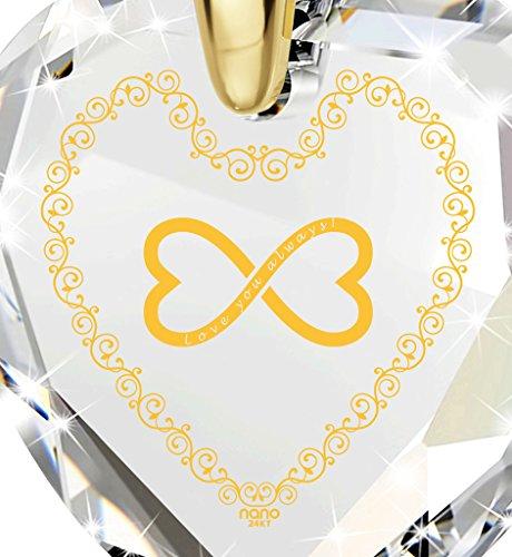 Bijoux Coeur - Pendentif Romantique Plaqué Or avec Love You Always et le symbole de l'infini inscrits à l'Or 24ct sur un Zircon Cubique, Chaine en Or Laminé de 45cm - Bijoux Nano Transparent