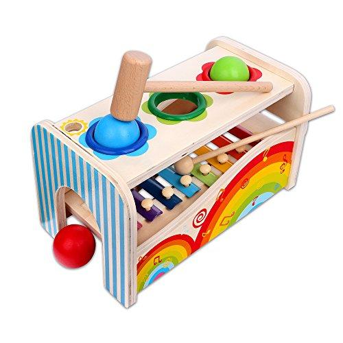 Schramm® Kinder Holz und Musik Hammer Spiel Holzinstrument für Kinder Holzspielzeug für Kinder Xylophon Klopfbank