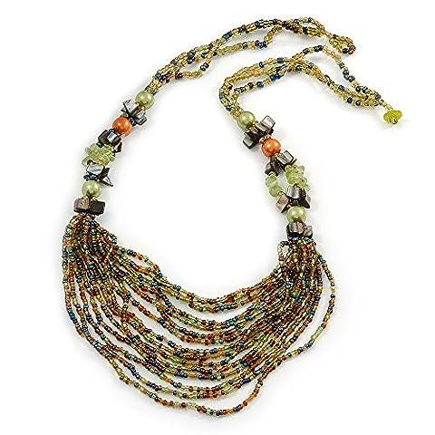 Vert clair/orange/gris perle en verre Bavoir style collier–70cm–l