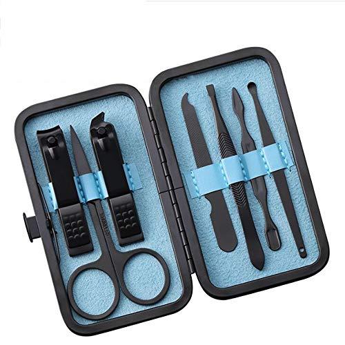 Amatt - Juego de manicura y pedicura profesional de acero inoxidable 7 en 1 para hombre y mujer, kit...