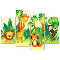 Rubybloom Designs Childrens Jungle Animal 4 Panel Canvas Print Picture Overall Size 104cm x 69cm
