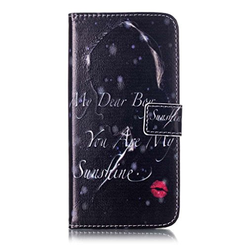 Uming® Il modello della stampa della custodia per armi variopinta della copertura Holster Cover Case ( Black lips - per IPhone 7 7G IPhone7G IPhone7 ) Flip-artificiale in pelle con staffa supporto del Black lips