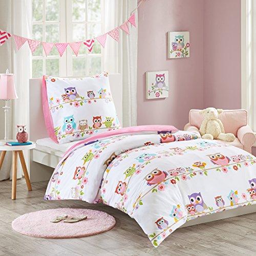 MIZONE KIDS Owl 2-tlg Kinderbettwäsche Set mit Eule 100% Baumwolle Bettgarnitur Mädchen Jugendliche Teenager Bettwäsche Einzelbett weiß rosa bunt, 135x200cm+80x80cm (Eule Bettwäsche Für Mädchen Schlafzimmer)