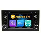 Kunfine® Octa Core, 4 GB RAM 8,0 Android Auto-DVD-Multimedia-Player Autoradio Radio Autoradio für Audi A4 S4 RS4 2002 2003 2004 2005 2006 2007 2008 Lenkrad mit Bluetooth 3 G WiFi mit 8 G SD-Karte