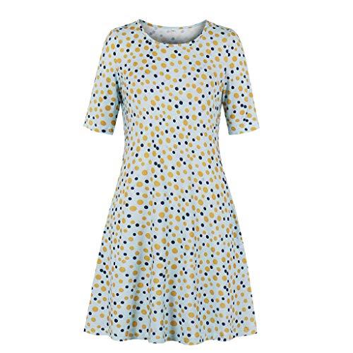 GOKOMO Damen Boho V-Ausschnitt Sommer Party Abend Strand Langes Kleid Sommerkleid Elegant Jahrgang Floral Drucken Cocktailkleider(Gelb,XX-Large)
