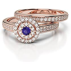 AG & Sons 750 Gold oro rosa de 18 quilates Round Brilliant Cut G-H tanzanita diamante