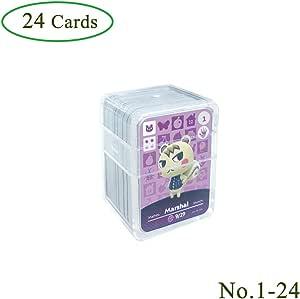 Schede di gioco NFC Tag per Animal Crossing, 24 pezzi Schede di gioco Nfc con custodia in cristallo compatibile con Nintendo Switch / Wii U (n. 1-n. 24)