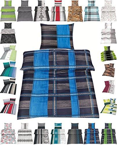 Microfaser Bettwäsche Set 2 Größen viele schöne Designs, 135x200 cm Kissenbezug 80x80 cm Noah Blau (Pack Bettwäsche-set)