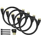 Perlegear Cable HDMI 1.8 m 4 Piezas para la reproducción de Video de 4 K, Full HD, 1080p, 3D, PS4, PS3, Wii, Ethernet, Ordenador, Ordenador portátil, Arco con Adaptador HDMI con ángulo de 90 Grados