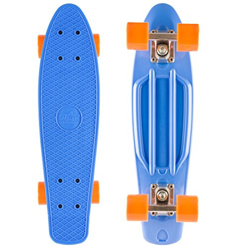 STAR-SKATEBOARDS® Vintage Cruiser Board ★ 22er Diamond Class Edition ★ Paradiesisch Blau & Sunny Orange