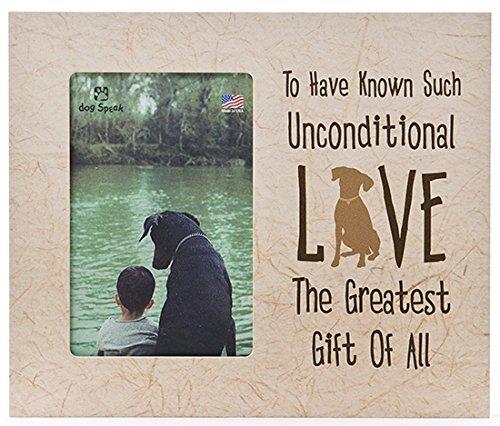 Dog Speak Bedingungslose Liebe Hund vertikal Distressed Holz Bilderrahmen (Vertikale Bild-frame-hund)