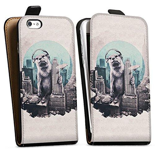 Apple iPhone 6 Plus Silikon Hülle Case Schutzhülle Otter Stadt City Downflip Tasche schwarz