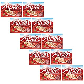 Alpen Strawberry & Yogurt Bars 145g, - Pack of 10, 5 Bars Each