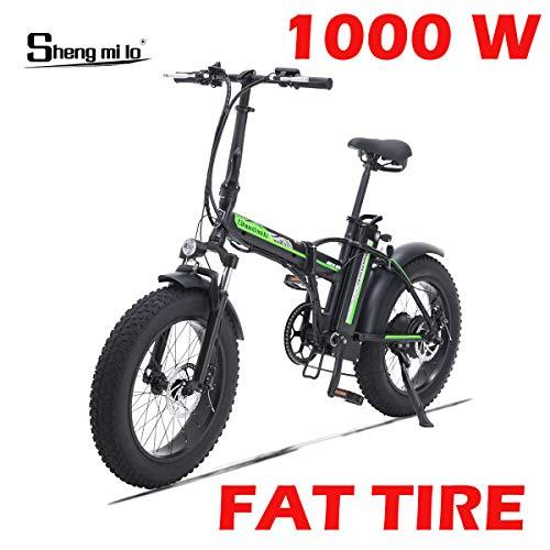 Shengmilo 1000W Bicicleta eléctrica Plegable Montaña Nieve E-Bike Ciclismo de Carretera, Neumático Gordo de 4 Pulgadas, Shimano 7 Velocidad Variable (Negro)