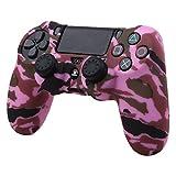 Pandaren® Wassertransfer Anpassen Camouflage Silikon Hülle Anti-Rutsch für PS4 controller x 1 (Rosa) + thumb grips aufsätze x 2