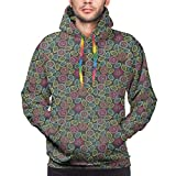 Photo de Men's Hoodies Sweatershirt,Hand Drawn Abstract Foliage with Colorful Dots and Blooms Coming of The Spring Theme,3D Printing Long Sleeve Casual Sweatershirt Tops par Hwgss