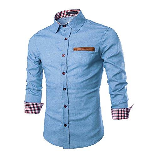 West See Herren Männer Freizeit Hemd Langarm Shirts Slim Fit Business Bügelleicht (DE L, Hellblau)