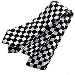 SODIAL(R)Corbata a cuadros Negro Blanco Cuadros de hombre