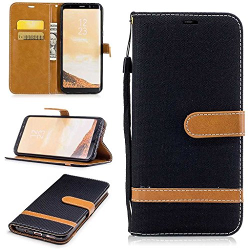 Price comparison product image Galaxy S8 Plus Wallet Case, BoxTii® Galaxy S8 Plus Case with [Free Tempered Glass Screen Protector] [Card Slots] [Hand Strap], Shock Proof Stand Cover and Premium Leather Magnetic Flip Case for Samsung Galaxy S8 Plus (#8 Black)
