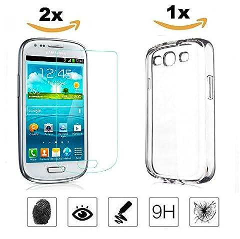 [3 in 1] Samsung Galaxy S3 Mini Panzerglas | 2 x Schutzfolie + 1 x Handyhülle | Panzerglasfolie Handy