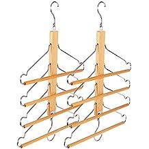 BESTOOL Perchas Madera maciza de madera multifuncional pantalones pantalones ropa de abrigo traje toallas percheros Hanger, cuatro en una capa de almacenamiento armario Colgador plegable organizador 40 cm (15,8 pulgadas) (Pack 2)
