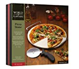 from KitchenCraft Italian Collection World of Flavours Italian Pizza Stone Set Model KCPIZSTONE