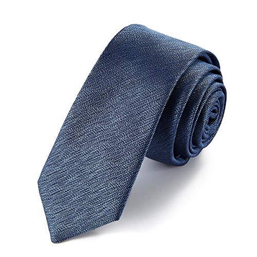 Preisvergleich Produktbild Chris Vu Seidenkrawatte, schmal, blaugrau und ausgeprägt strukturiert