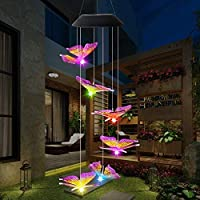 DSHOW LED Butterfly Wind Chimes, Color Changing Solar Wind Chimes Outdoor, Waterproof Wind Mobile Solar Lights, Décor for Garden, Yard, Patio, Home, Gifts for Mom, Wife, Grandma (Butterfly)