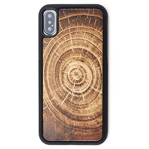Extra Schutz Holz iPhone X Fall-Echt Holz Handytasche mit Aufdruck Baum Ring Overlay & TPU Gummi Schicht für Extra Schutz durch Reveal Shop (Baum Ring Holz) (5 Iphone Fall-gummi-holz)